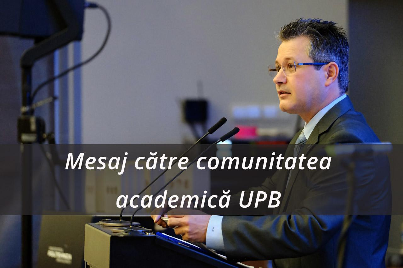 Mesaj către comunitatea academică UPB