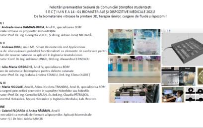 Rezultate Sesiunea de Comunicări Științifice Studențești- SECŢIUNEA 14 – 01 BIOMATERIALE ŞI DISPOZITIVE MEDICALE