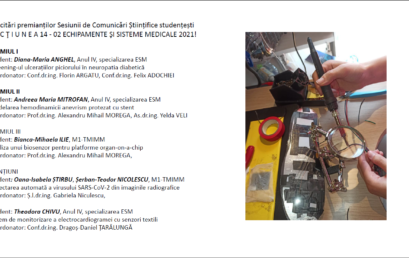 Rezultate Sesiunea de Comunicări Științifice Studențești SECŢIUNEA 14 – 02 ECHIPAMENTE ŞI SISTEME MEDICALE