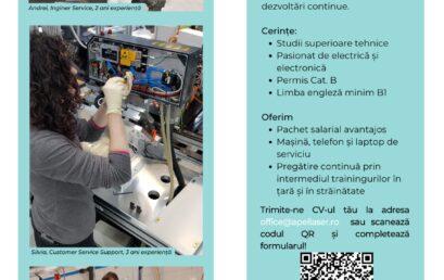 Recrutare Inginer service echipamente laser mediu industrial